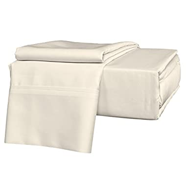 Brielle 630 Thread Count Egyptian Cotton Sateen Premium 600 Plus Sheet Set, King, Ivory
