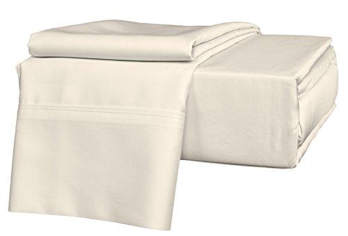 Brielle 630 Count 100-Percent Egyptian Cotton Sateen Premium Sheet Set, King, Ivory