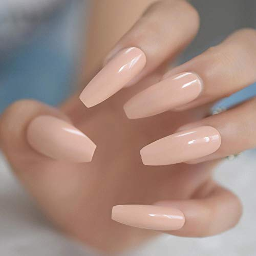 TJJF Shimmer Rose Solid Color Coffin Fake Nail Long Ballerina Full Cover Artificial Tips Natural Faux S 24