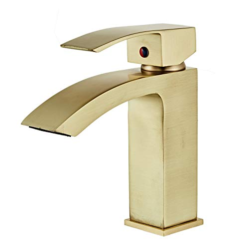 Baño Fregadero Grifos Cepillado Oro Baño Cascada Grifo Caliente y Frío Mezclar Baño Grifos Vanidad GT1731BG