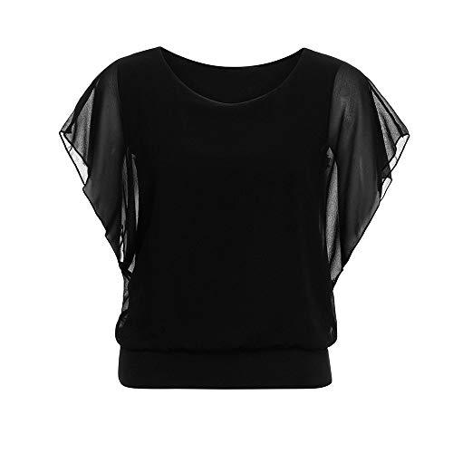 Vimoli Blusen Damen Lose beiläufige T-Shirt Kurzhülse der Frauen Fledermausärmel Chiffon Tops T-Shirt Bluse Oberteile Einfarbig Ohne Zubehör(A Schwarz,2XL)