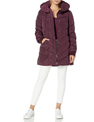 Steve Madden Women's Long Chervron Quilted Outerwear Jacket, Merlot, Large