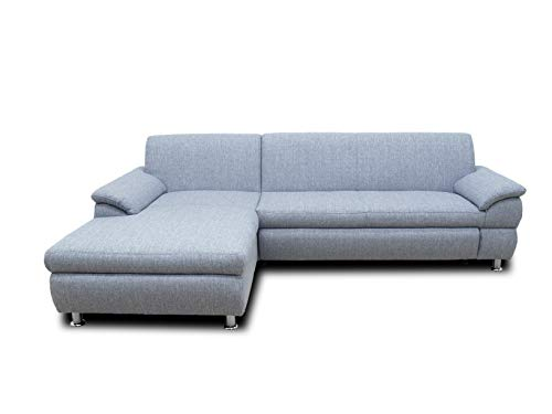 DOMO Collection Ecksofa Bounty | Schlaffunktion L-Form Sofa | 266 x 172 x 82 cm | Eckcouch Schlafsofa mit Bett in grau