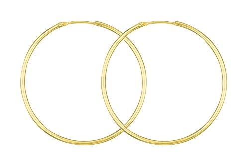 Creolen Echt Gold 44 mm 585 aus Gelbgold, Damen Ohrringe Gold mit Stempel, Breite 1,5 mm, Gewicht ca. 2.1 g, Made in Germany
