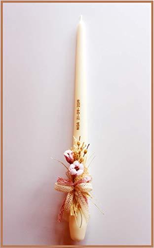 FIESTADEKOR Vela (CIRIO) para Bautizo DE Cera Blanca. Medida 3x36 CM Decorada con Pick Floral RÚSTICO Y Lazos DE PUNTILLA Calada.