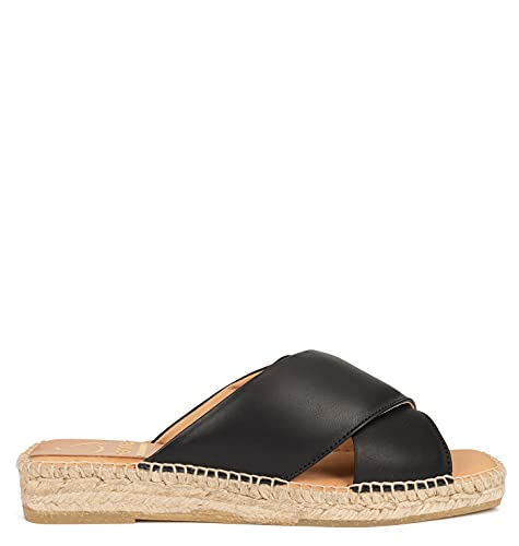 Kanna Amber, Sandale Plate Femme, Noir, 38 EU