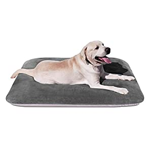 Magic Dog Large Dog Bed Orthopedic Pet Beds 47/39/30 Inch Washable Crate Pad Mat Anti Slip Dog Sleeping Mattress with Removable Cover Grey