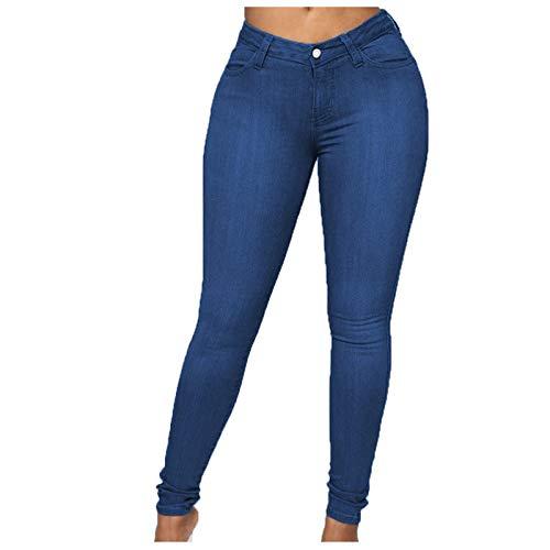 Betory - Pantalones elásticos para mujer, talla alta, clásicos, multibolsillos oscuros y deslavados, talla...