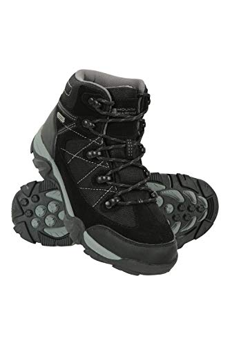 Mountain Warehouse Trail Kids Botas Impermeables - Zapatos Infantiles con Malla sintética en la Parte Superior, Plantilla EVA, Alta tracción - para Senderismo y Caminar Negro 35