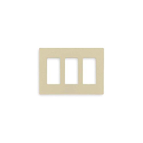 Lutron CW-3-IV Thermoset Device Mount Standard Size 3-Gang Designer Screwless Decorator Wallplate (3) Rectangular Device Ivory Claro Satin Colors