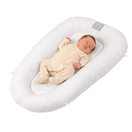 ClevaMama Reductor y protector de Cama y cuna para bebe, nido para recien nacido, Blanco, 52x87 cm