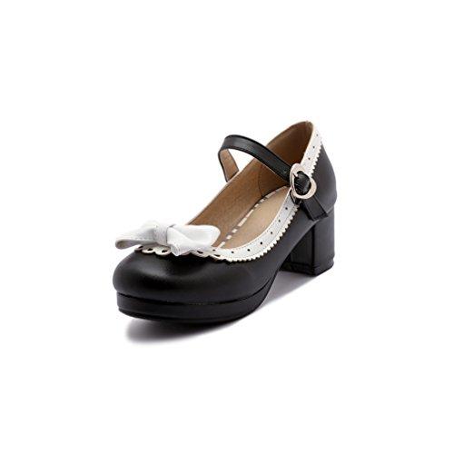 ELFY Women's Cute Lolita Cosplay Shoes Bow Mid Chunky Heel Mary Jane Pumps Black 10