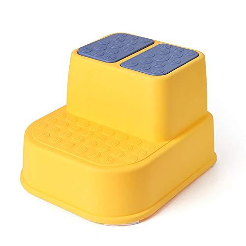 SFeng Tritthocker, multifunktional, rutschfest, dick, Tritthocker, Einzel-/Doppelschicht-Hocker, Badezimmer-Hocker für Kinder, gelb, Double-layer