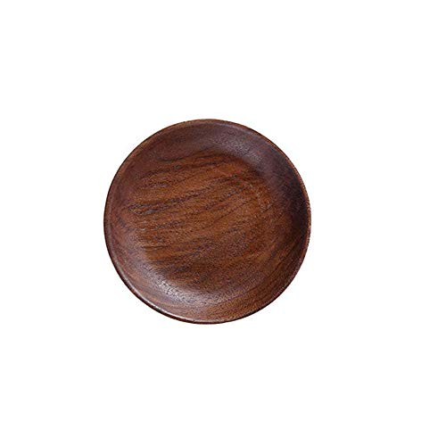 Gaosu Wood Salad Plates, Organic Wooden Dinner Plates, Serving Platter for Appetizer Dishes Snack Dessert Dining Party Tabletop Decor(M,Brown)
