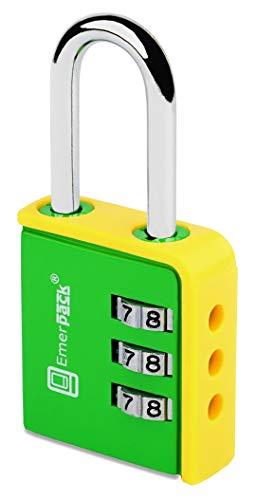 Combinatieslot, cijferslot voor spindel/hangslot met cijfercode nummers/combinaties hangsloten voor spinnen, schoolspin, sporttassen, bagage, koffer kleuren groen/geel