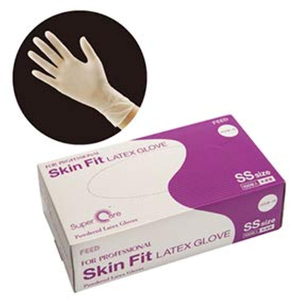 最初結論大洪水FEED(フィード) Skin Fit ラテックスグローブ パウダー付 SS カートン(100枚入×10ケース) (作業用)