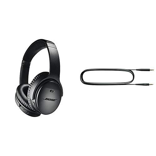 Bose QuietComfort 35 Wireless Kopfhörer II (mit Amazon Alexa), schwarz + SoundLink Ersatz-Audiokabel für Around-Ear drahtlos Kopfhörer II schwarz