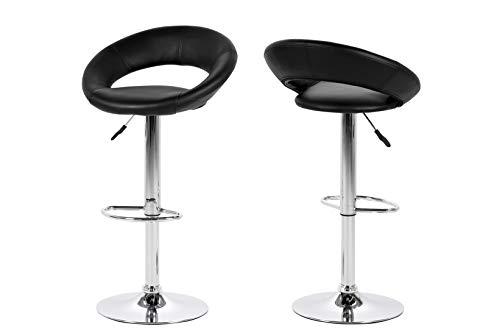AC Design Furniture Thilde Tabourets, Simili cuir, Noir, L: 50 x l: 56 x H: 100 cm