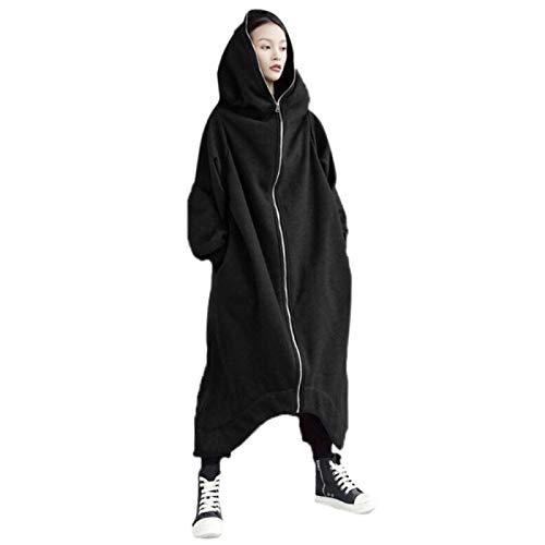 ShSnnwrl Moda Sudaderas Jersey Sweater Sudaderas con Capucha Largas Informales para Mujer Abrigo con Cremallera Prendas De Abrigo Chaqueta con Capucha Tallas Grandes Terciopelo Outwear Tops 3XL Negro