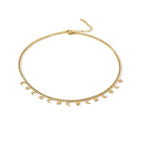 collar Collar De Gargantilla Con Cadena De Luna Para Mujer, Collar De Moda De Acero Inoxidable, Accesorios De Joyería De Metal De Color Dorado, Nuevo