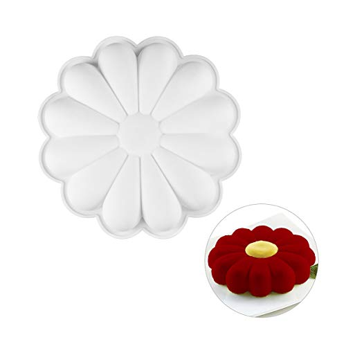 Silicone Flower Cake Mold   Non Stick Silicone Baking Mold   Perfect for Mousse Dessert, Jello, Chocolate, Candy   Must Have for Your Baking Set