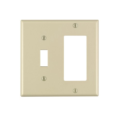 Leviton 80405-I 2-Gang 1-Toggle 1-Decora/GFCI Device Combination Wallplate, Sta