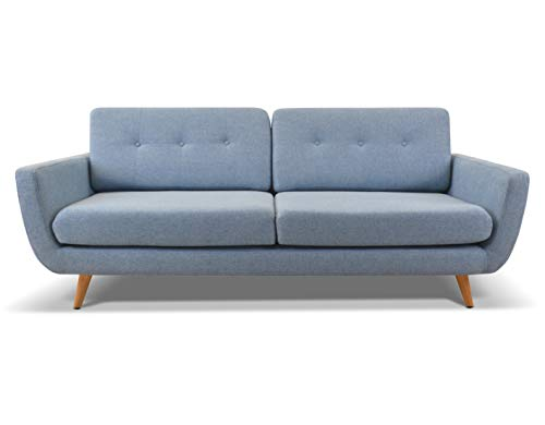 Sandra Double Seater Sofa by Urban - Home Furniture for Living Room - Industrial Settee with Retro Design Sleeper Sofa Couch (Blue)