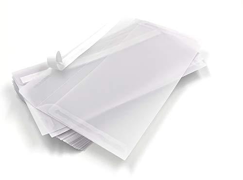 Transparente Briefumschläge, DIN lang, Haftklebestreifen, 75 Stück