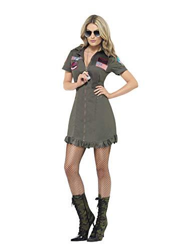 Smiffys Disfraz de mujer Top Gun Deluxe para mujer, vestido y gafas de sol