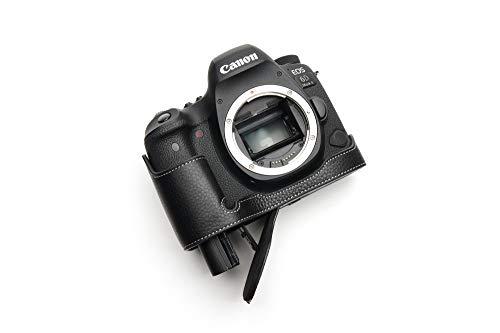 Canon キャノン EOS 6D Mark II 6D2 専用本革カメラケース バッテリー交換可能タイプ (底面開閉) (本革カメラケース バッテリー交換可能タイプ+ショルダーストラップTP15, ブラック)