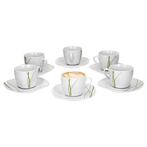 Van Well Bali 6er Set Kaffeetasse + Untertasse, Kaffee-Set, Liniendekor, edles Marken-Porzellan