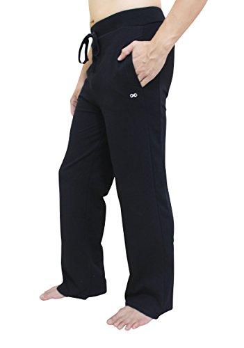 YogaAddict Herren-Yogahose, auch für Pilates, Fitness, Training, Freizeit, Lounge, Schlafen, Kampfsport, lang Größe L Schwarz