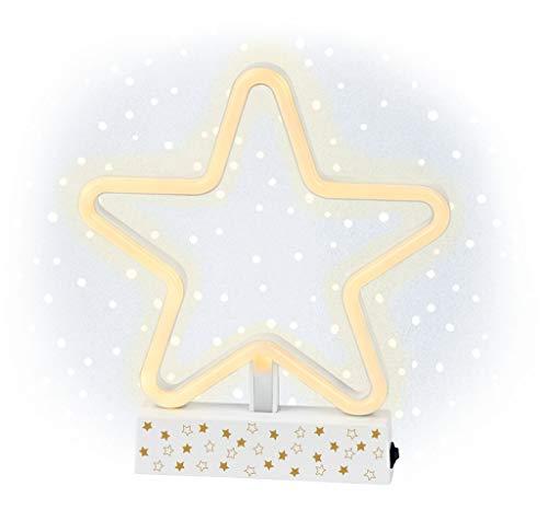 moses. Neon-Leuchte Stern | LED-Leuchte mit Standfuß | weihnachtliche Lichterdeko | warmweißes Licht