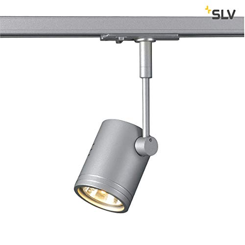 SLV 1-Phasen-Strahler BIMA I | Dreh- und schwenkbar, LED Spot, Deckenleuchte, Schienen-System, Schienenstrahler, Innenbeleuchtung, max. 50W 1P-Lampe | GU10 QPAR51, alu-silber, max. EEK E-A++