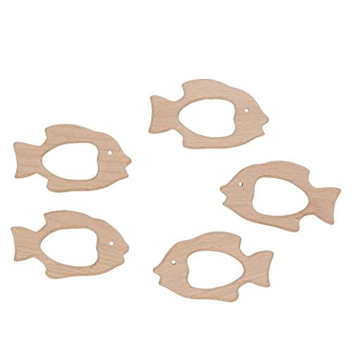 Alvinlite Juguete calmante para los Dientes, Juguete para la dentición del bebé en Forma de pez, 5 Piezas de mordedor de Madera de Haya, Adecuado para Bricolaje, Collar, Pulsera, joyería