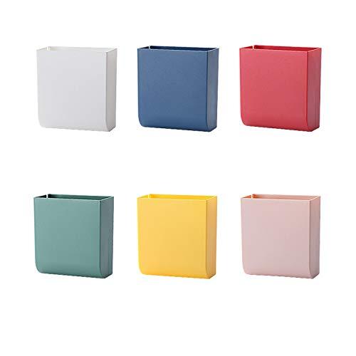 6 Pcs Fernbedienung Aufbewahrungsbox, ABS Wandmontage Aufbewahrungsbox, Organizer Hook Box für Handy Lade Halter, Fernbedienung(Weiß, Blau, Rot, Grün, Gelb, Pink)