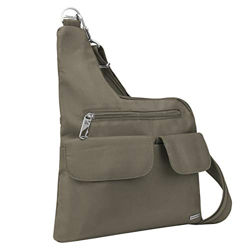 Locking main compartment includes pockets and card slots 2 front flap pockets and a locking zipper pocket Adjustable cut-proof shoulder strap attaches to post or chair Rear zip pocket - Removable LED light RFID blocking card slots