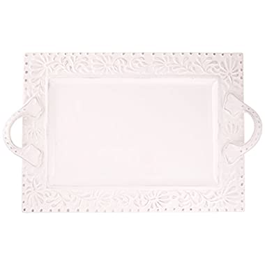 American Atelier Bianca Leaf Rectangle Platter
