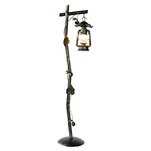 Lámpara de pie American Rural Sweeping Gold Do The Old Lantern Lámpara de Queroseno Pantalla de Vidrio Hierro Forjado con decoración de Hojas Lámpara de pie 1.62M con Interruptor de pie para Sala de