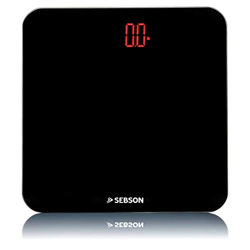 SEBSON Bilancia Personale Digitale, Design Sottile, Grande Bilancia Pesapersone in Vetro Nero 310x310x23mm, Display a LED Luminoso, Fino a 180kg