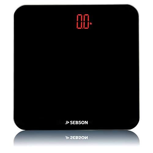 SEBSON Báscula de Baño digital, diseño delgado, gran escala de cristal negro 310x310x23mm, pantalla LED brillante, Balanza peso Corporal hasta 180kg