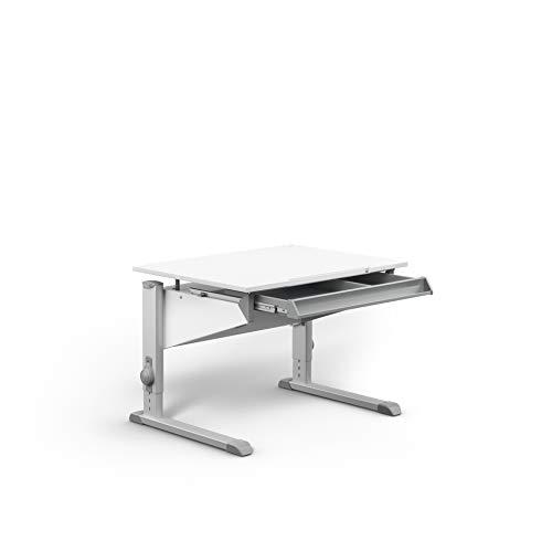 moll Sprinter CP Füße Alu mit Schublade Kinderschreibtisch, Holz, Weiß, 86cm × 67,5cm × 53-82cm