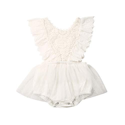 Carolilly Barboteuse Bébé Fille à Manches Longues ou sans Manches Jumpsuit Infantile en Dentelle et Tulle Costume Baptême Blanc 1,70(0-6 Mois)