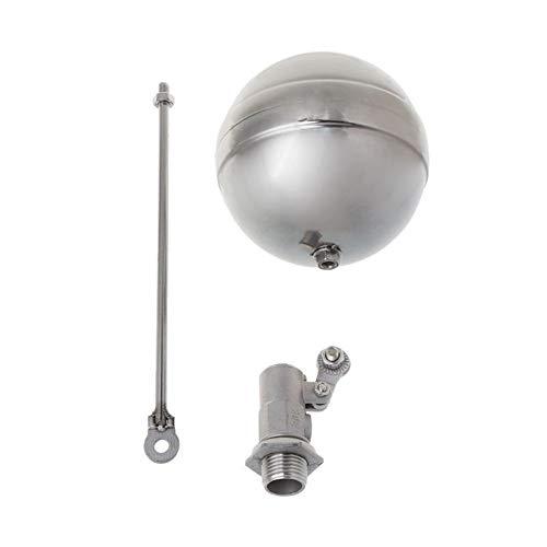Válvula de flotador de filtro de agua Externo balón tanque de agua hilo de flujo de acero inoxidable válvula de sensor de control de flotador Para tanques de agua, estanques ( Color : Silver )