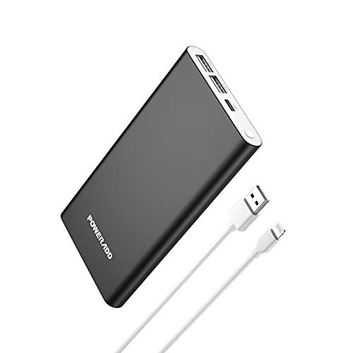 Power Bank 12000 mAh Batteria esterna con ingresso, 8 pin 2 USB Output (3A) Caricatore portatile adatto per iPad, iPhone, Samsung, Galaxy Huawei, Xiaomi Tablet (nero)