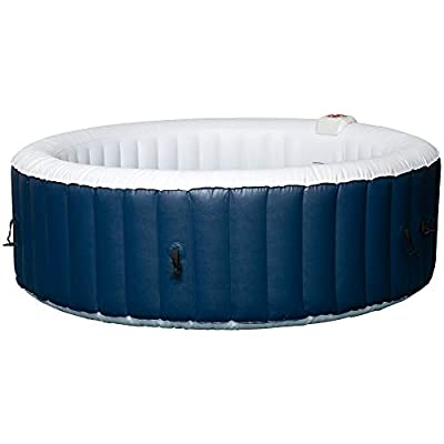 Outsunny SaluSpa 4-6 Person Inflatable Portable Hot Tub Spa 82'' x 26'' Outdoor Round Heated Spa w/ 130 Bubble Jets, Blue
