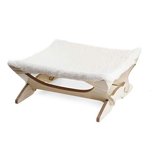 zhichy Hamaca plegable de madera para gatos, manta elevada, sofá colgante para perros pequeños, tela súper suave y duradera, suministros para mascotas, camas para mascotas de lujo