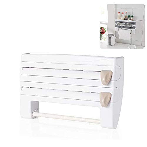 WDMDLZFD 2020 New Multifunction Film Storage Rack Cutter, Punch-Free Wall Mounted Cling Film and Foil Cutting Tools 4 in 1 Cling Film Holder Dispenser for Kitchen (White)