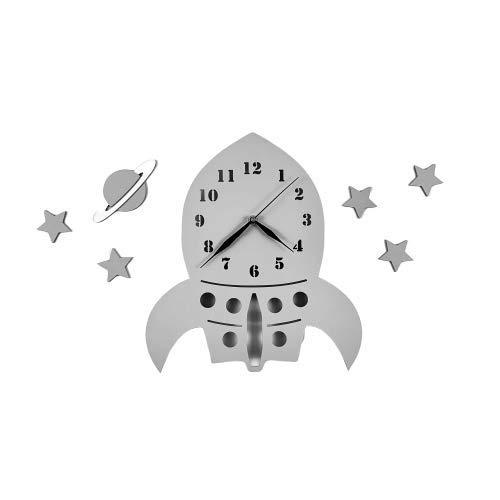 BABEES Kinder Wanduhr Rakete mit Sterne und Planet, Uhr ohne Tickgeräusche, Kinderuhr Weltall für Kinderzimmer, Lautlos Uhrwerk, Wanddeko Scandi Deko (Rakete GRAU)