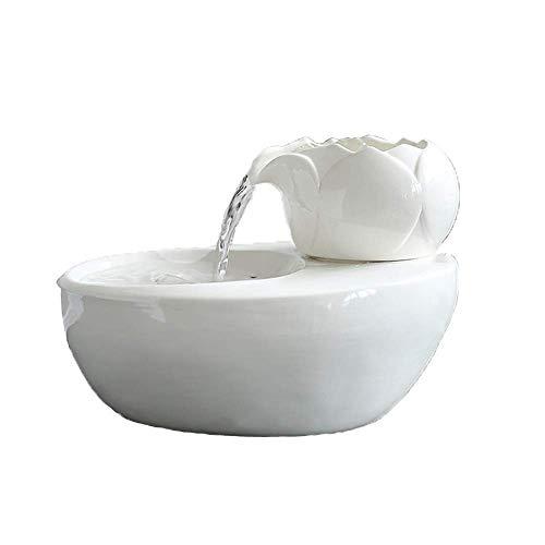 Katzen Trinkbrunnen Katzen-Trinkbrunnen zum Trinken von besonders leiser Keramik Wasserspender für Katzen und kleine Hunde mit besonders leiser Pumpe rutschfest (Color : White)